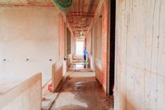 Construction site interior building plan development on housing with copy space add text.  stock photography