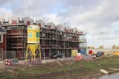 Construction site of Koningskwartier in Zevenhuizen, where new residents district is build in the lowest polder of the Netherlands.  stock photography