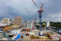 A construction site in Kuala Lumpur, Malaysia Royalty Free Stock Photography