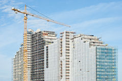 Construction Site with Large Crane Stock Photo