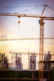 Construction site with large cranes Royalty Free Stock Images