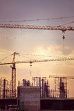 Construction site with large cranes Royalty Free Stock Image
