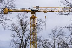 Large yellow construction crane with tree tops. Construction site with large yellow crane in tee formation and tree tops and pale blue sky Royalty Free Stock Image