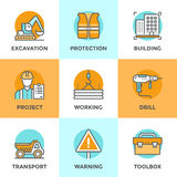 Construction site line icons set vector illustration