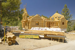 Construction site of log Cabin Stock Images