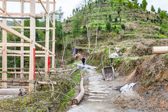 Construction site of log house in Dazhai Royalty Free Stock Photography