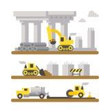 Construction site machineries flat design Stock Images