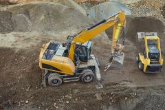 Construction site machinery. At work from above Stock Image