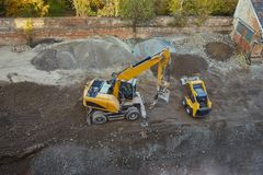 Construction site machinery. At work from above Stock Photography