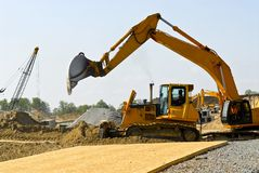 Construction site machines stock photography