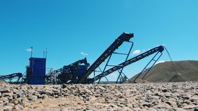 Construction site with machines and gravel. 4K stock video footage