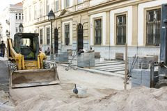 Construction site , making the new pavement in pedestrian zone royalty free stock photography