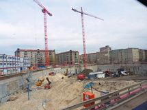 Construction site of the Mall of Berlin. Berlin, Germany - April 10, 2012: One of the biggest construction sites in the city center opened along Leipziger straß Royalty Free Stock Image