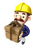 Construction site man holding a big gift box Royalty Free Stock Photos