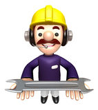 Construction site man holding a spanner. Work and Job Character Royalty Free Stock Photos