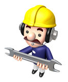 Construction site man holding a spanner. Work and Job Character Stock Photography