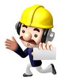 Construction site man showing a business card. Work and Job Char Royalty Free Stock Photos