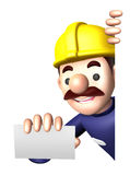 Construction site man showing a business card Stock Image