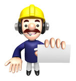 Construction site man showing a business card Stock Photos