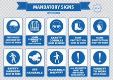 Free Construction Site Mandatory Signs Royalty Free Stock Photography - 54654277