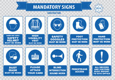 Construction Site Mandatory Signs. (face shield hard hat must be worn, high visibility vest, safety goggles, pedestrian walkway, gloves, boots, all accidents Stock Photo
