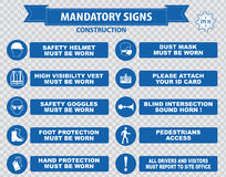 Construction Site Mandatory Signs. (face shield hard hat must be worn, high visibility vest, safety goggles, pedestrian walkway, gloves, boots, all accidents Royalty Free Stock Photo
