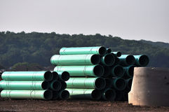 Construction Site Material. Construction site showing pipes,gravel and other equipment and material stock photography