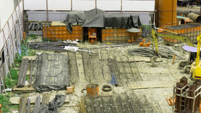 Construction site. Is messy and placed by many equipments Stock Photography