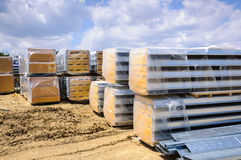 Construction site metallic parts stacks Royalty Free Stock Photography