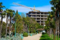 Construction site apartment building park Royalty Free Stock Photos