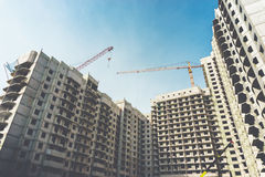 Construction site of modern concrete high-rise buildings in Voronezh city Royalty Free Stock Images