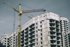 Construction site of modern concrete high-rise buildings in Voronezh city Royalty Free Stock Photography