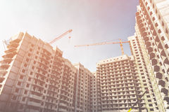 Construction site of modern concrete high-rise buildings in Voronezh city Stock Photography