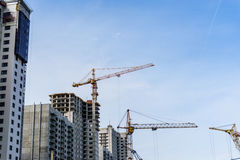 Construction site of modern concrete high-rise buildings in Voronezh city Stock Photo