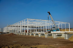 Construction site of modern warehouse royalty free stock image