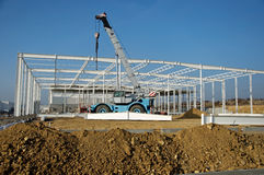 Construction site of modern warehouse Stock Images