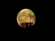Construction site and Moon. Stock Image