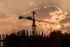 Construction Site. During morning sunrise Stock Photo