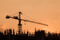 Construction Site. During morning sunrise Royalty Free Stock Images