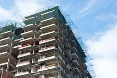Construction site of a multi-story apartment block multi-story apartment block stock image