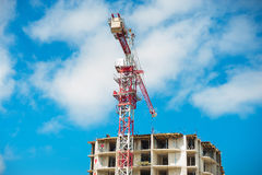 Construction site of multistore building with tower cranes and blue sky. Perspective view royalty free stock photography