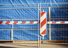 Construction site. In munich - fence and warning sign stock image