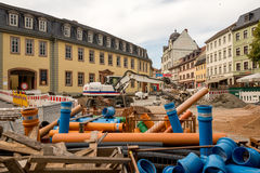 The construction site near by the Goethe House in Weimar, Germany Stock Photos