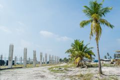 Construction site near the harbor at the tropical island. In Maldives royalty free stock photo