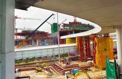 Airport terminal construction site. Singapore Royalty Free Stock Images