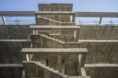Concrete staircase structure. Fourth floor Stock Image