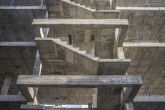 Concrete staircase structure. Third floor Royalty Free Stock Photography