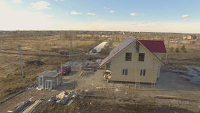 Construction site of new house stock video footage