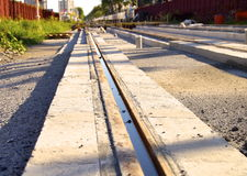 The construction site of new light rail rapid transportation system Royalty Free Stock Photos