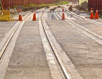 The construction site of new light rail rapid transportation system Royalty Free Stock Photo